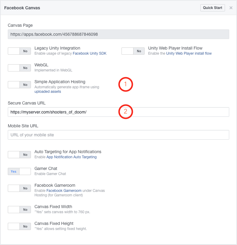 Facebook Canvas settings