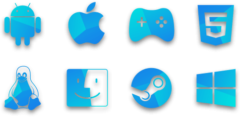 Logos of supported platforms. Android, Apple, FB Instant Games, HTML5, Linux, macOS, Steam, Windows.
