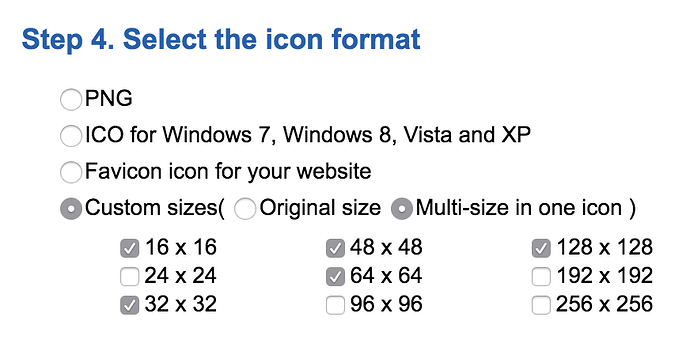 Windows icon sizes